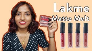 Lakme Matte Melt Liquid Lipstick | Swatches + Review
