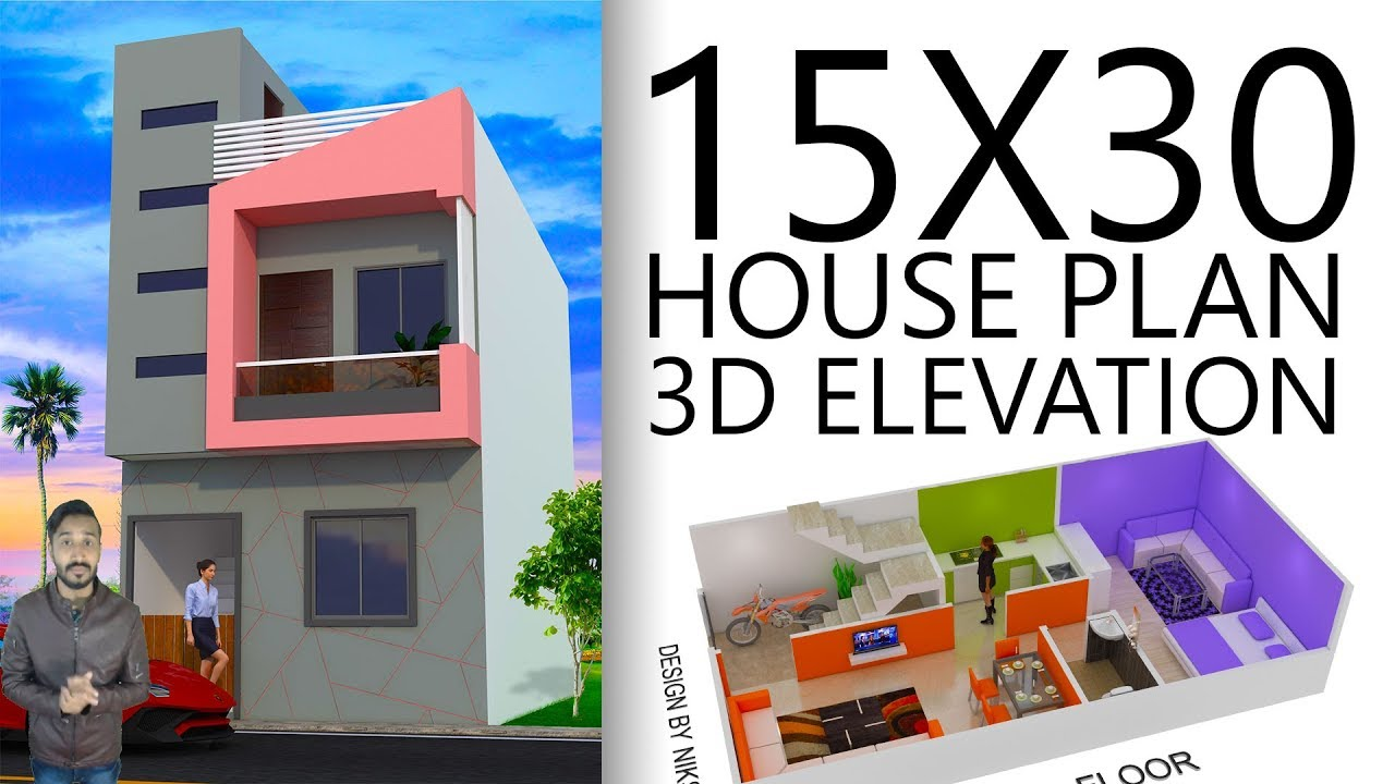 15x30 House Plan With 3d Elevation Option B By Nikshail
