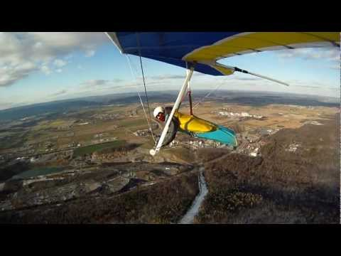 Hang Gliding on a Cold Day at Pleasant Gap, PA 12-10-2011 Will Perez