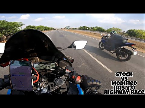 Stock R15 V3 vs Modified R15 V3 | Highway race | ft Kawasaki Ninja 300, Thunderbird and R15 v2