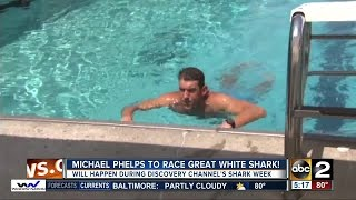 Michael Phelps jumps back into the water to race a great white shark