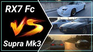 Mazda Rx7 FC vs Toyota Supra Mk3 - 3 camera coverage! ENGLISH