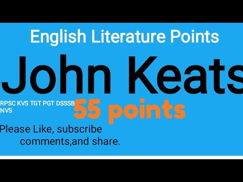 John Keats biography. English literature biographies.RPSC First Grade English Literature points.