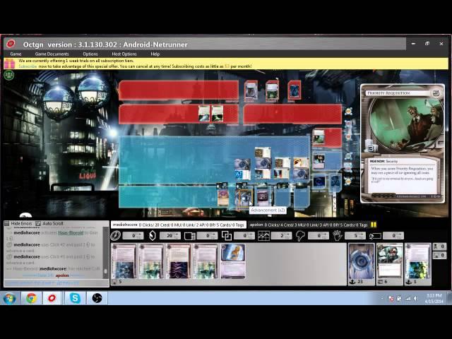 Android: Netrunner HB Glacier vs Stealth Gabe OCTGN