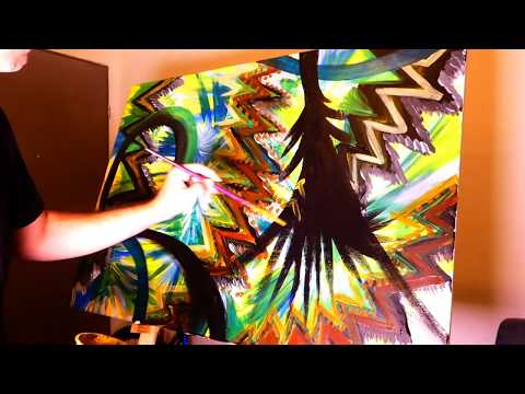 Intuitive Acrylic Abstract Painting | Plants Abstract art | Big Canvas Abstract | Demonstration