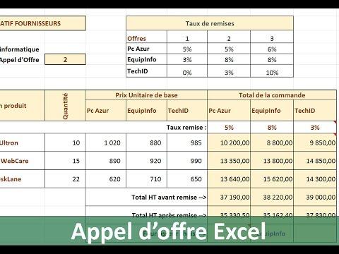 Etudes Comparatives De Prix Avec Excel Youtube