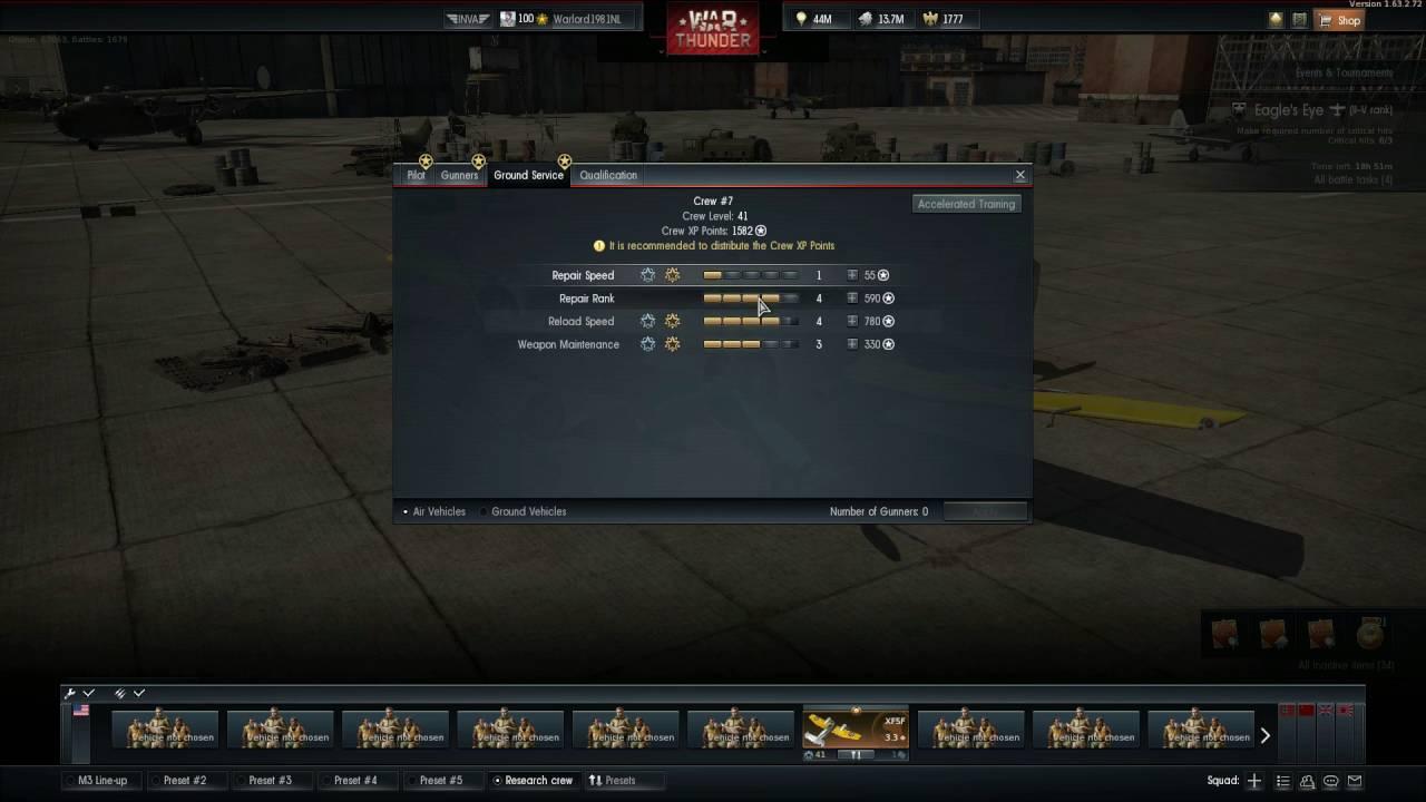 War Thunder Crew Experience Calculator
