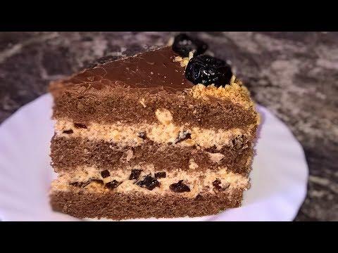 Торт Чернослив в шоколаде. Шоколадный торт с черносливом и грецкими орехами. Сметанный крем.