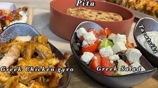 Dinner from around the world Greek Chicken Gyro Greek Salad Pita