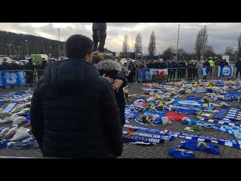 Emiliano Sala's sister visits tributes at Cardiff City ground