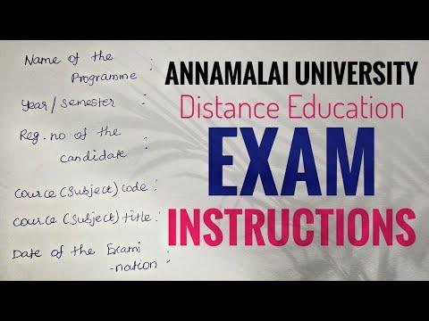 Exam Instructions   Annamalai University   Distance Education