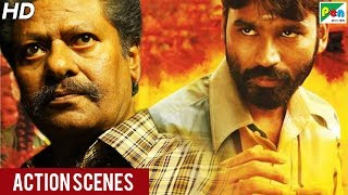Power Paandi (Dum Lagade Aaj) Action Scenes | Hindi Dubbed Movie | Dhanush, Rajkiran, Madonna