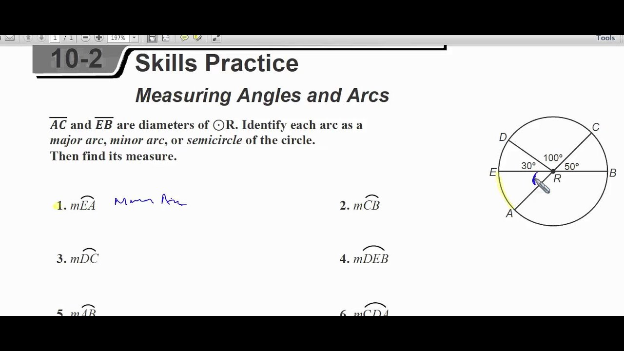 Central Angles - Skill Practice - YouTube