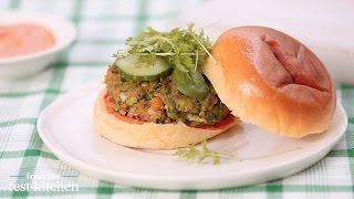 Green Pea Burger With Harissa Chili Pepper - From The Test Kitchen