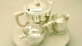 Sterling Silver Three Piece Tea Service - Art Deco Style - Antique George V - AC Silver (W7416)
