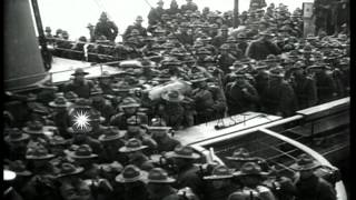 U.S. Soldiers of  American Expeditionary Forces, 111th Infantry Regiment, arrive ...HD Stock Footage