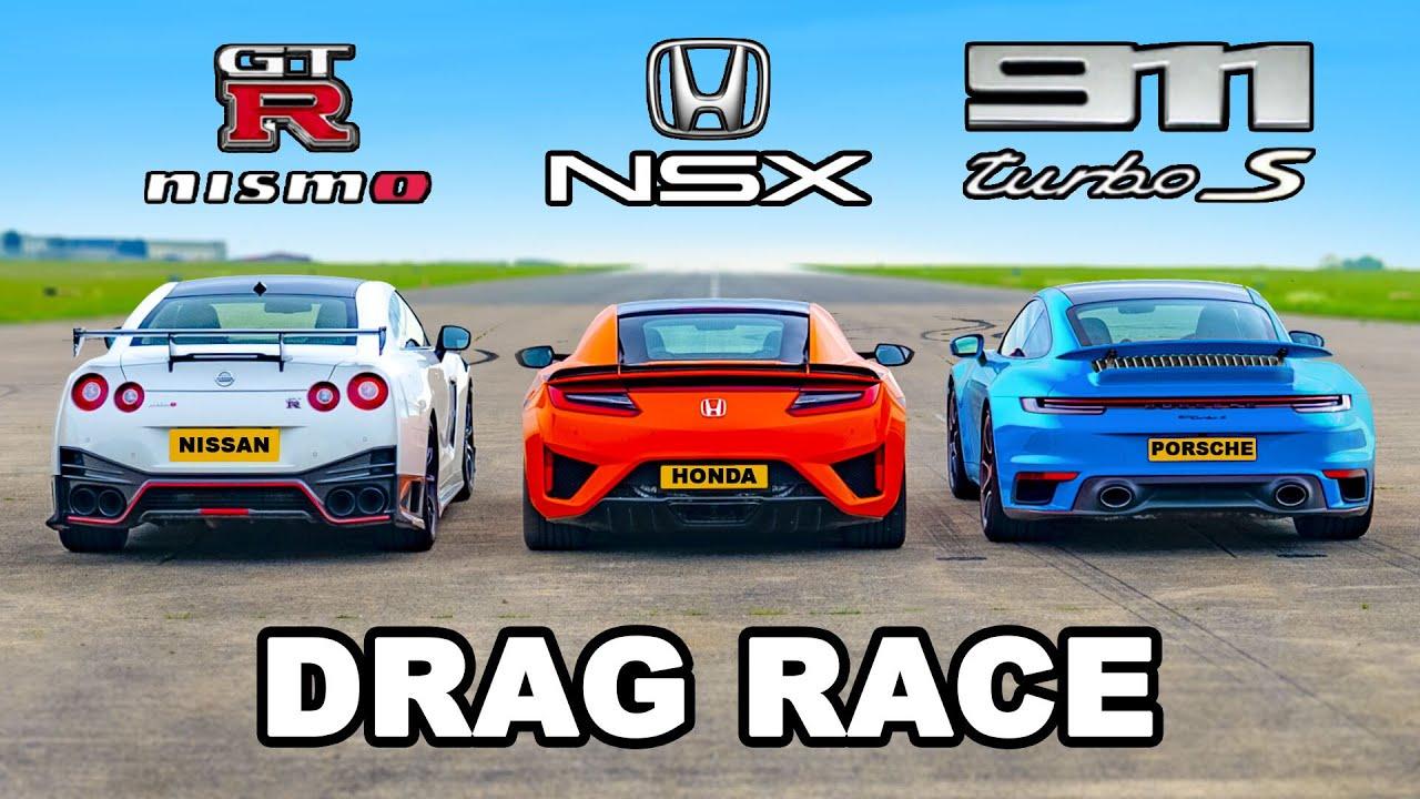 Download 911 Turbo S v GTR Nismo vs Honda NSX: DRAG RACE