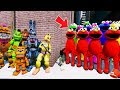 CAN THE ANIMATRONICS DEFEAT THE EVIL ELMO ARMY? (GTA 5 Mods FNAF Kids FNAF RedHatter)