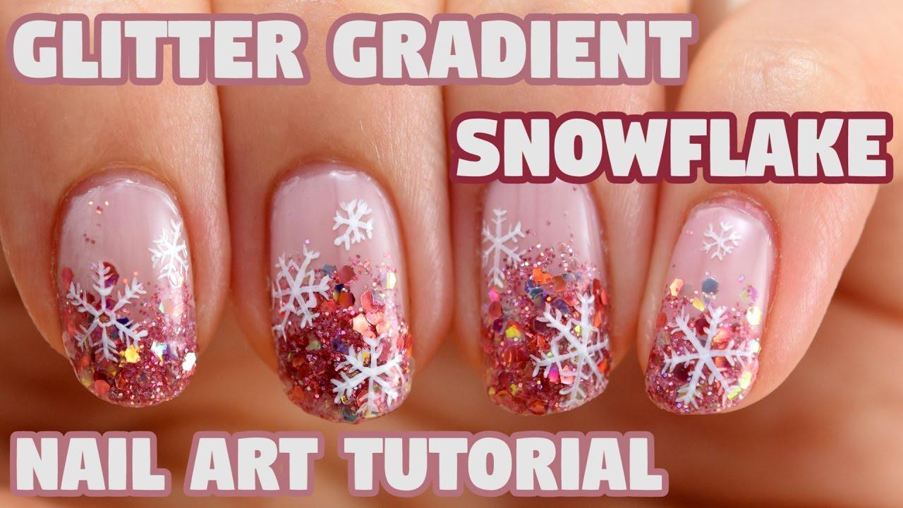 Holo Glitter Gradient Snowflake Nail Art Tutorial - YouTube