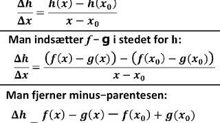 Differens af to forskellige funktioner har denne differentialkvotient