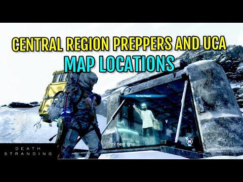 Death Stranding Full Map (Central Region): All Prepper and UCA Facility locations