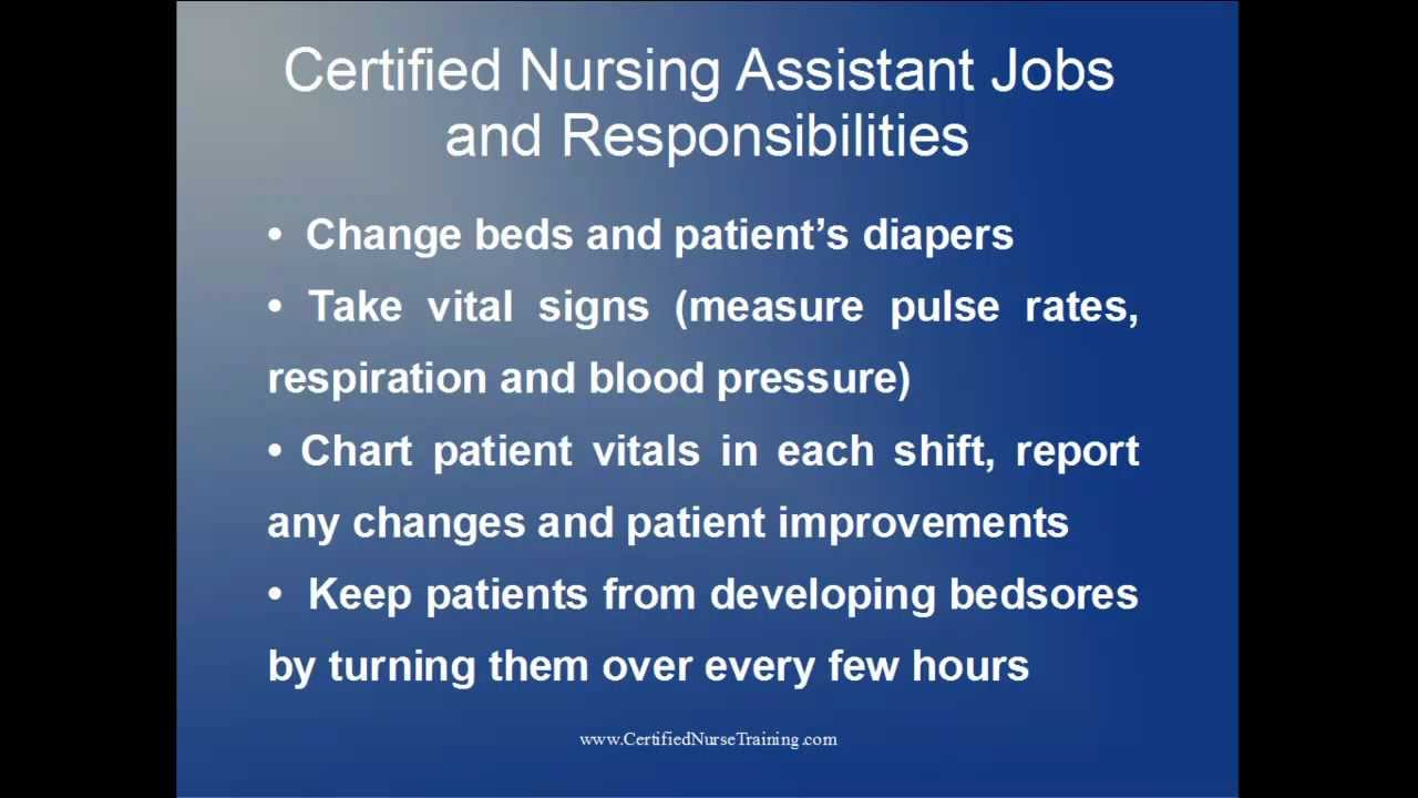 Certified Nursing Assistant Jobs and Responsibilities - YouTube