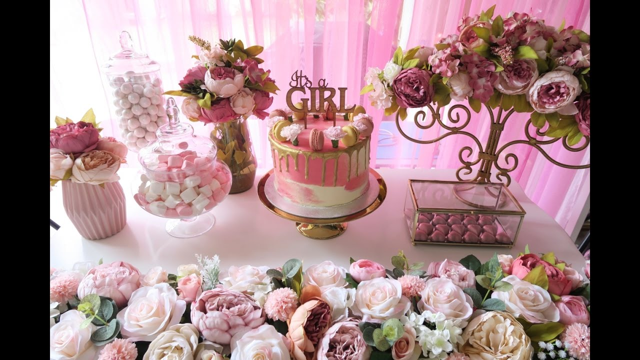 Pink And Gold Baby Shower   YouTube
