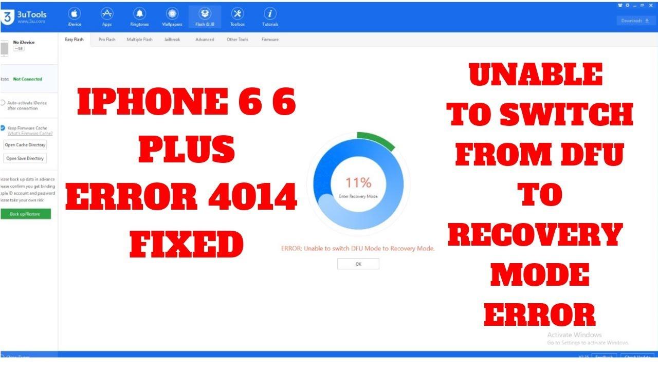 IPHONE 6 6PLUS ERROR 4014 FIX REPAIR (STUCK IN DFU MODE)