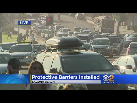 Protective Barriers Being Installed In Laguna Beach To Keep Pedestirans Safer