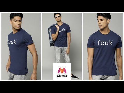 FCUK T-Shirt |  French Connection Men Navy Blue T-shirt | Myntra Unboxing