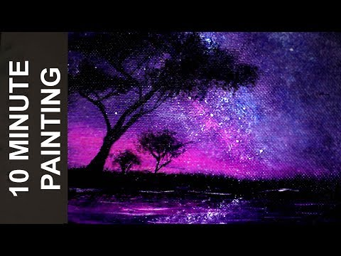 Painting an African Starry Night Sky with Acrylics in 10 Minutes!