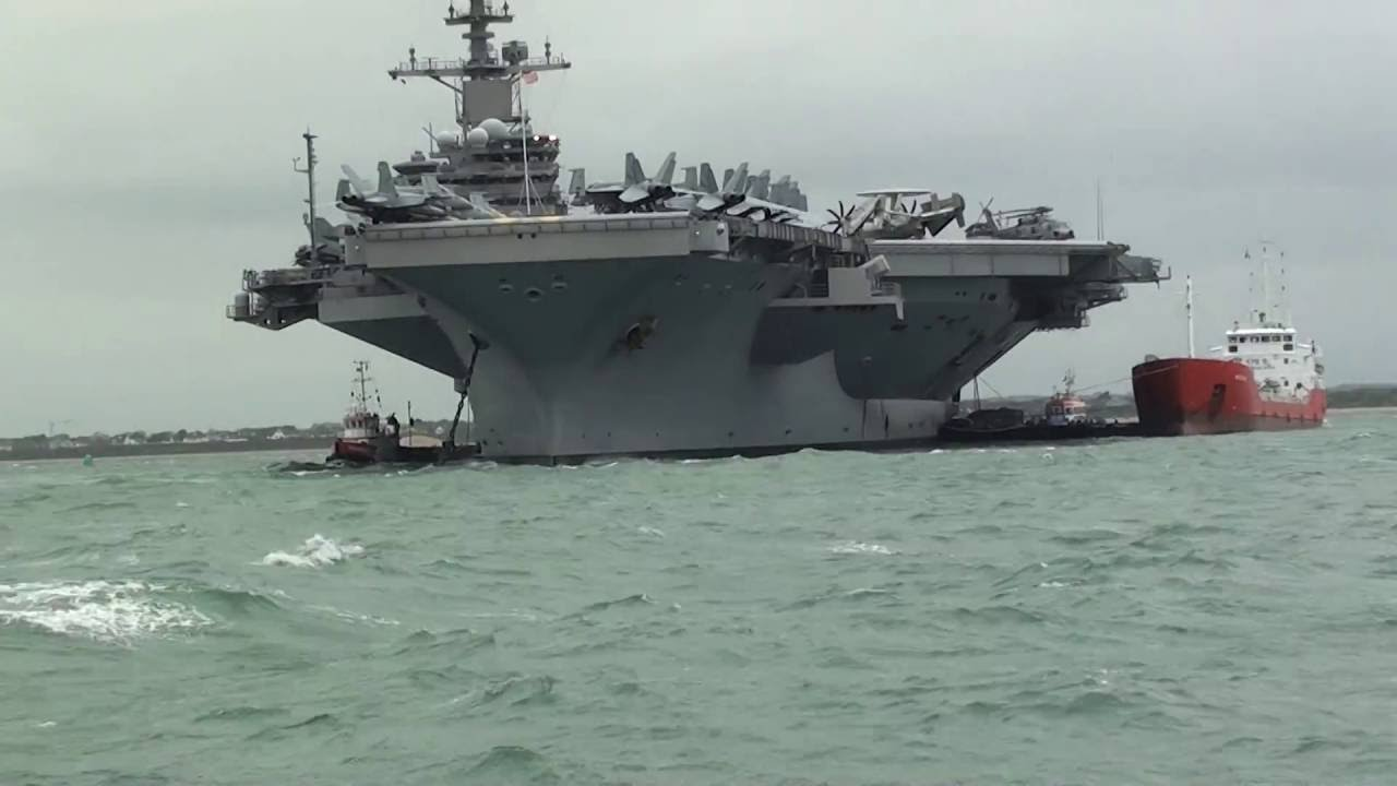 Uss George Hw Bush Aircraft Carrier Anchored Up At Portsmouth