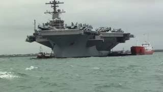 USS George HW Bush Aircraft Carrier, Anchored Up At Portsmouth England 2011.
