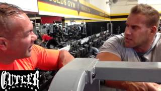 Jay Cutler training his back and bis in The Mecca Golds Gym Venice