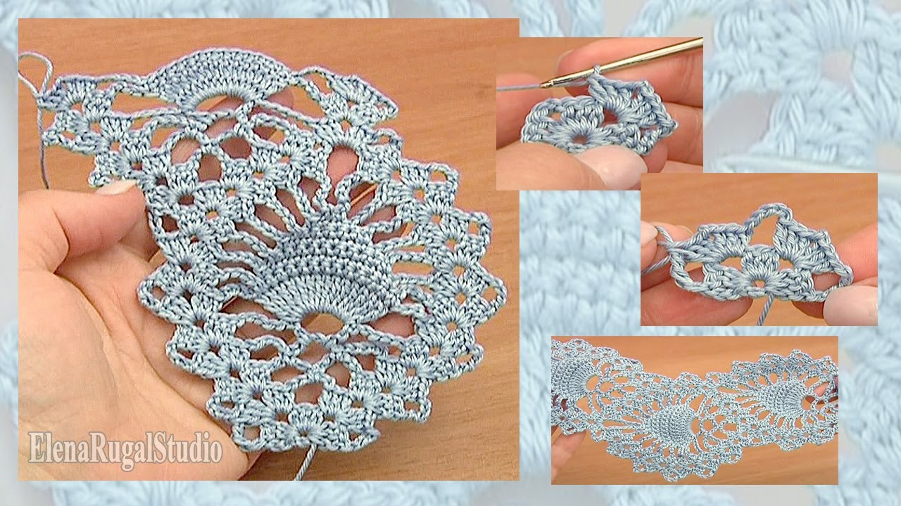 Pineapple Stitch Fish Stitch Lace Tape Crochet Tutorial 15 Free