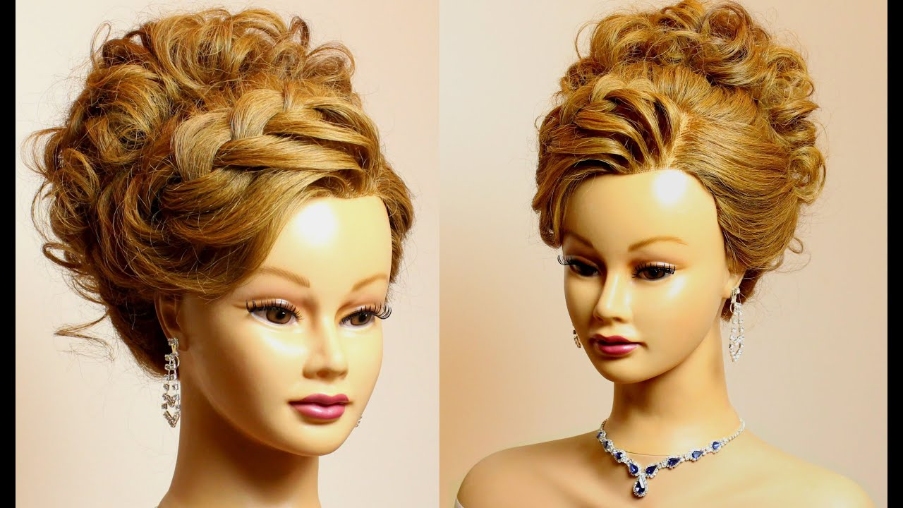 Hairstyle for long medium hair tutorial. Prom bridal updo