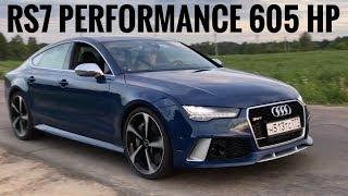 Audi RS7 PERFORMANCE 605 hp   acceleration, launch start, exhaust, start up, revs, 0 100 km/h, Ауди)