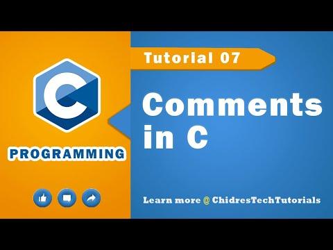 C programming tutorial 24 - Comments in  C language