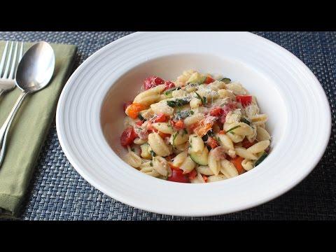 Summer Vegetable Cavatelli with Fresh Corn Cream Summer Pasta Recipe