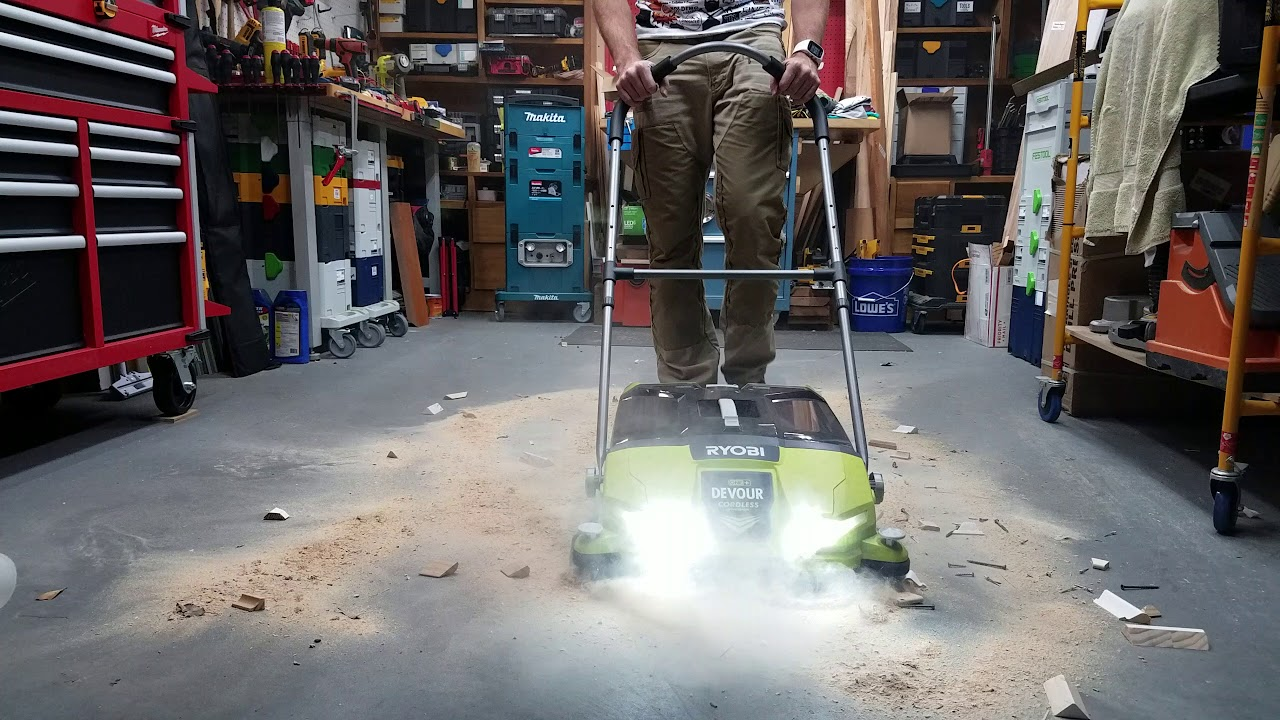 Ryobi Devour Cordless Floor Sweeper Shop Use Youtube
