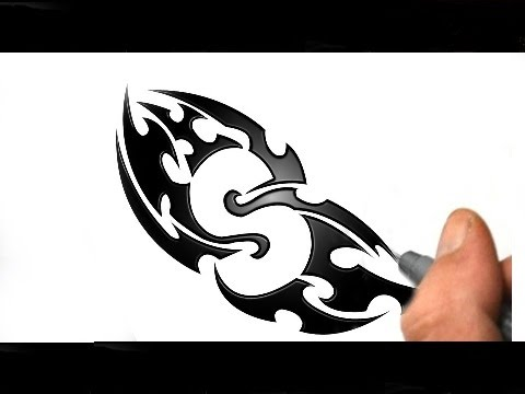 Drawing a Simple S Tribal Tattoo Design