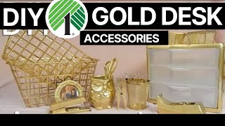 ✨✨ DIY: Affordable & EASY Gold Desk Accessories | Whiskey & Whit