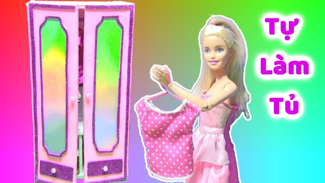Tự Làm Tủ Quần Áo Cho Búp Bê Barbie / XEM MÈO MỚI CỦA CHỊ BÍ (chị bí đỏ)