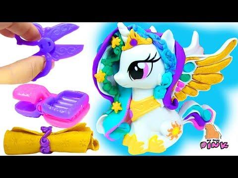 Play Doh My Little Pony ПРИЧЕСКИ ДЛЯ ПОНИ Princess Celestia, Luna \u0026 Twilight Toy Video For Kids