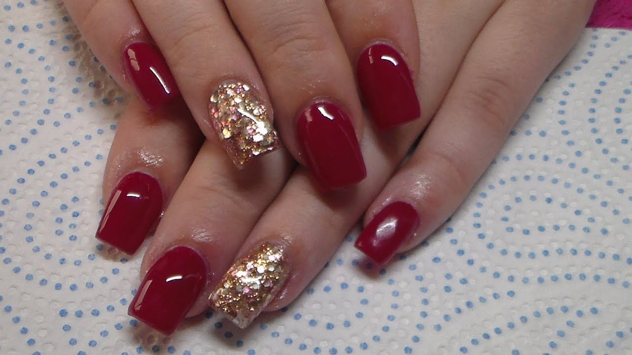 Acrylic Nails | Burgundy And Copper Glitter - YouTube