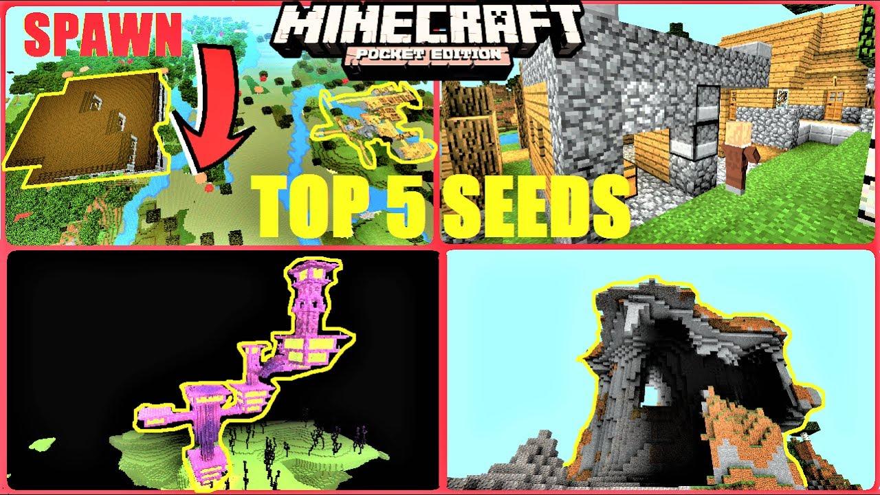 Minecraft Pe - Top 5 Seeds   Mansion At Spawn  End City  Villages  U0026 More
