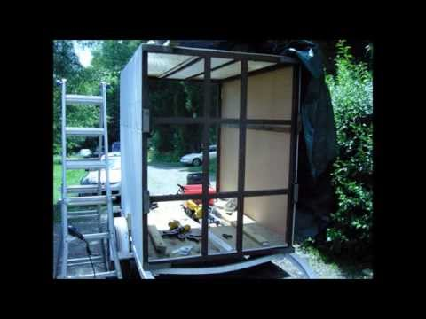 enclosed trailer build - made from a boat trailer and pallet rack