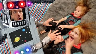 CRAZY ROBOT DAD  Adley &amp Niko build a homemade experiment to play family games like hide n seek