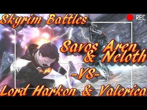 Skyrim Battles - Lord Harkon & Valerica vs Neloth & Savos Aren [Legendary Settings]