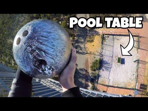 Big Brad - BOWLING BALL Vs. POOL TABLE from 147 feet